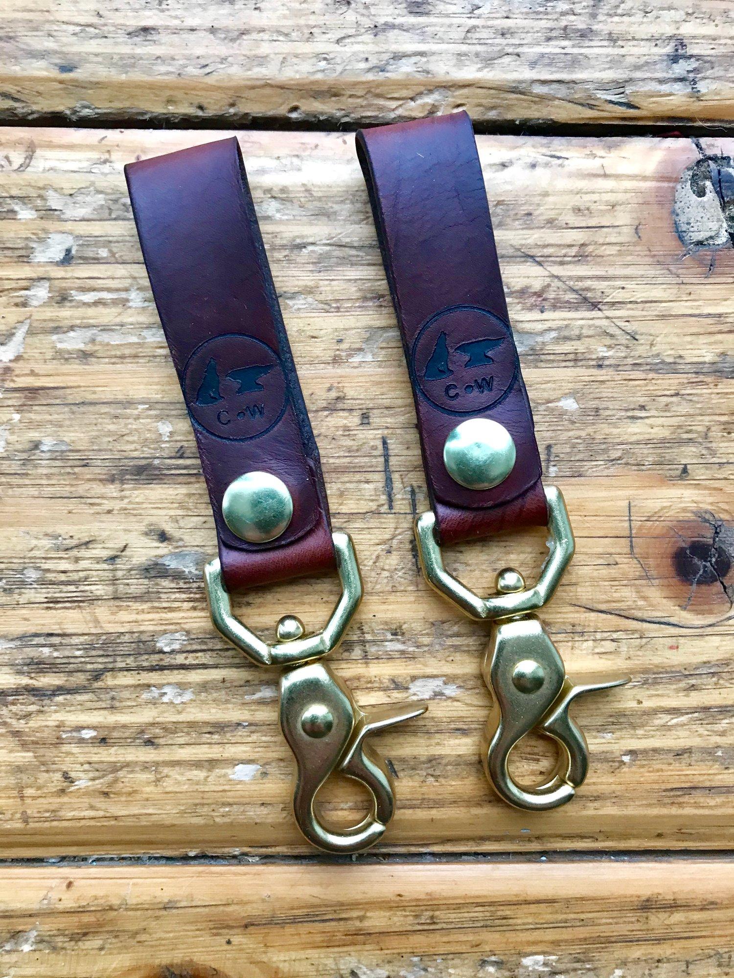 Image of Horween Horse Butt & Brass Belt Loop Key Chain