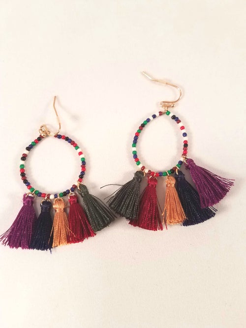 Image of Beaded Tassel Earrings