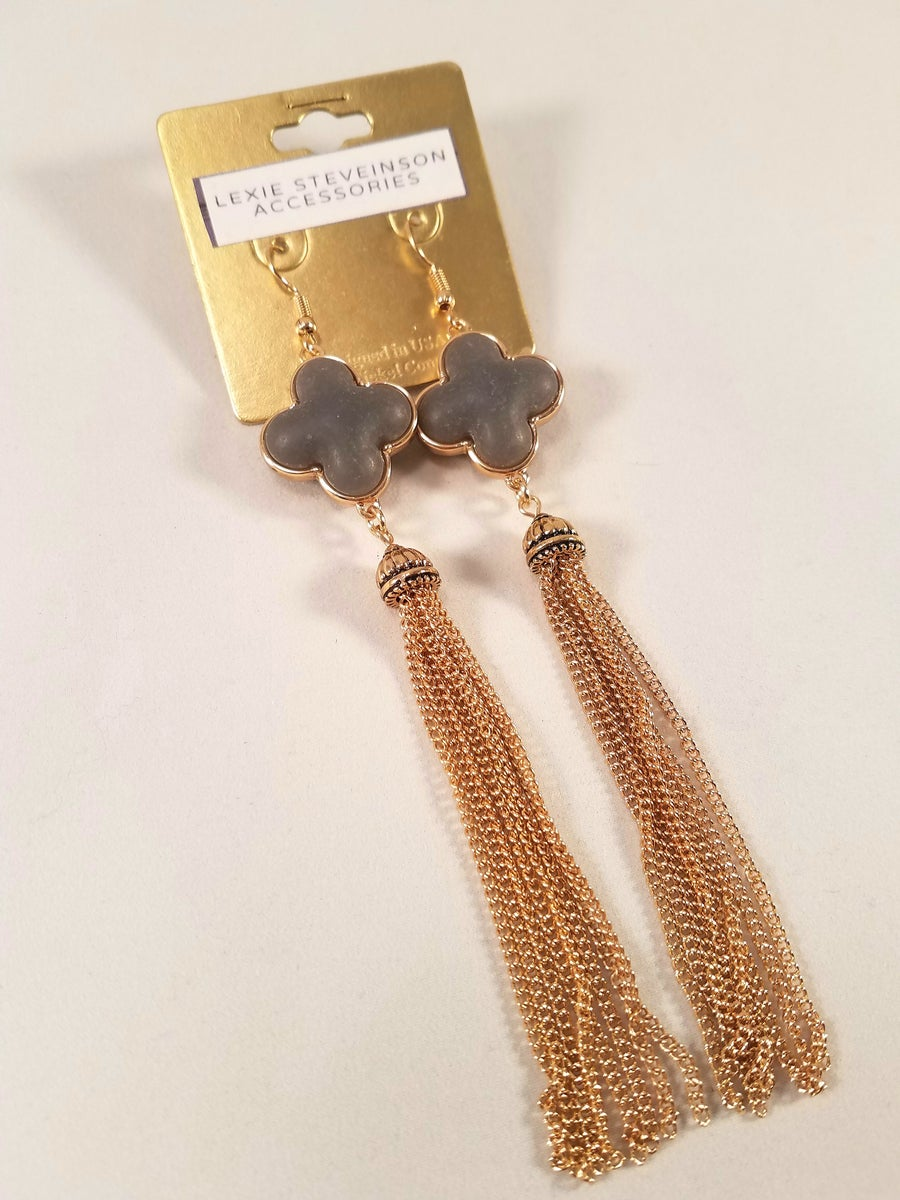 Image of Stone Chainmesh Earrings