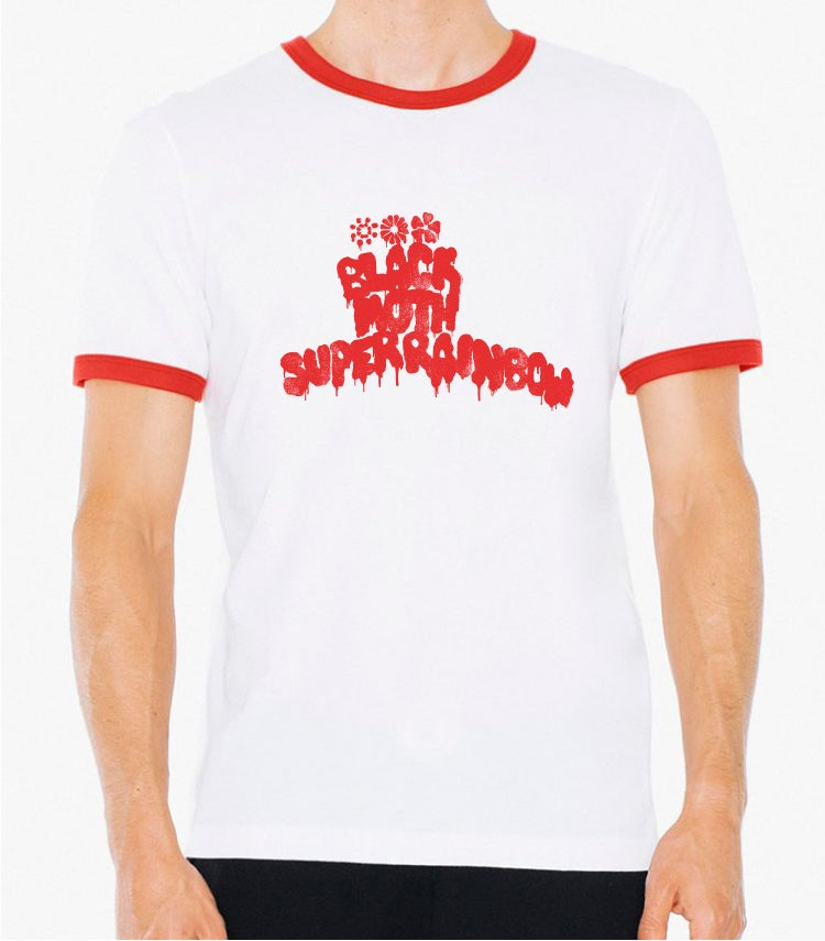Image of Black Moth Super Rainbow Logo Red Ringer/White TShirt