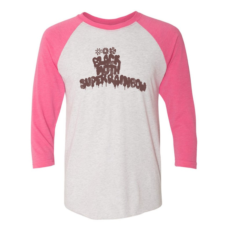 Image of Black Moth Super Rainbow Logo Pink/White Raglan