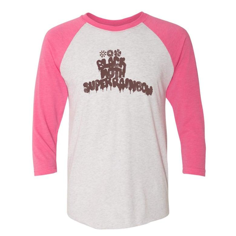 Image of Black Moth Super Rainbow Logo Pink/White Raglan