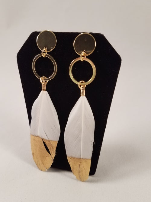 Image of Golden Feather Earrings