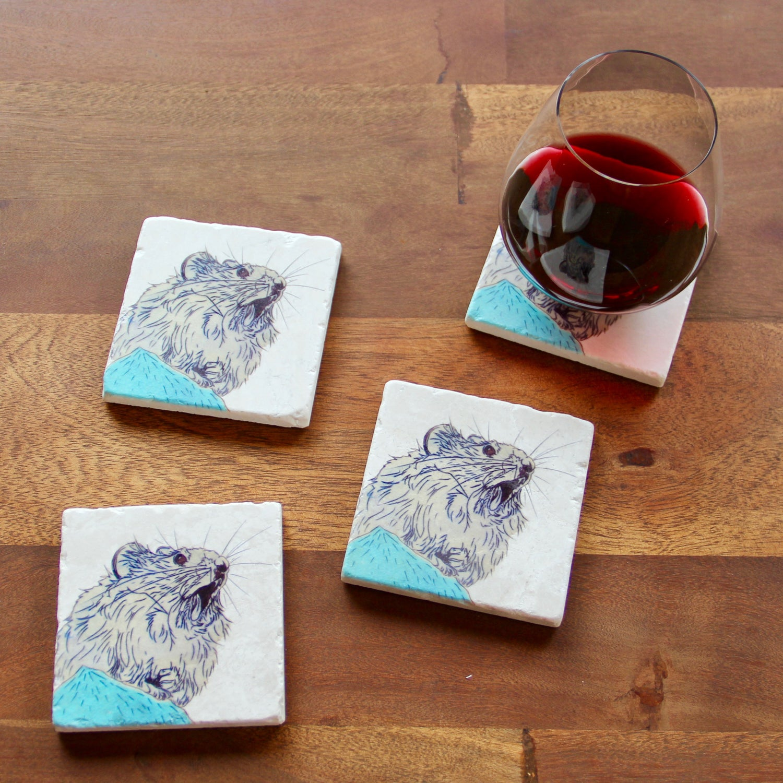 Image of Yelling Pika Coasters (set of 4)