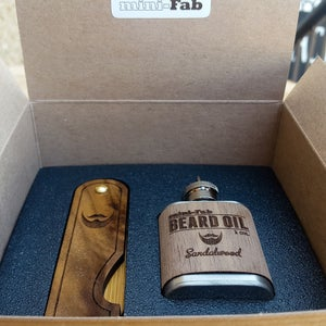 Image of Beard Comb & Beard Oil Kit - Personalized Folding Wood Beard Gift Set - Gifts for Men - Walnut