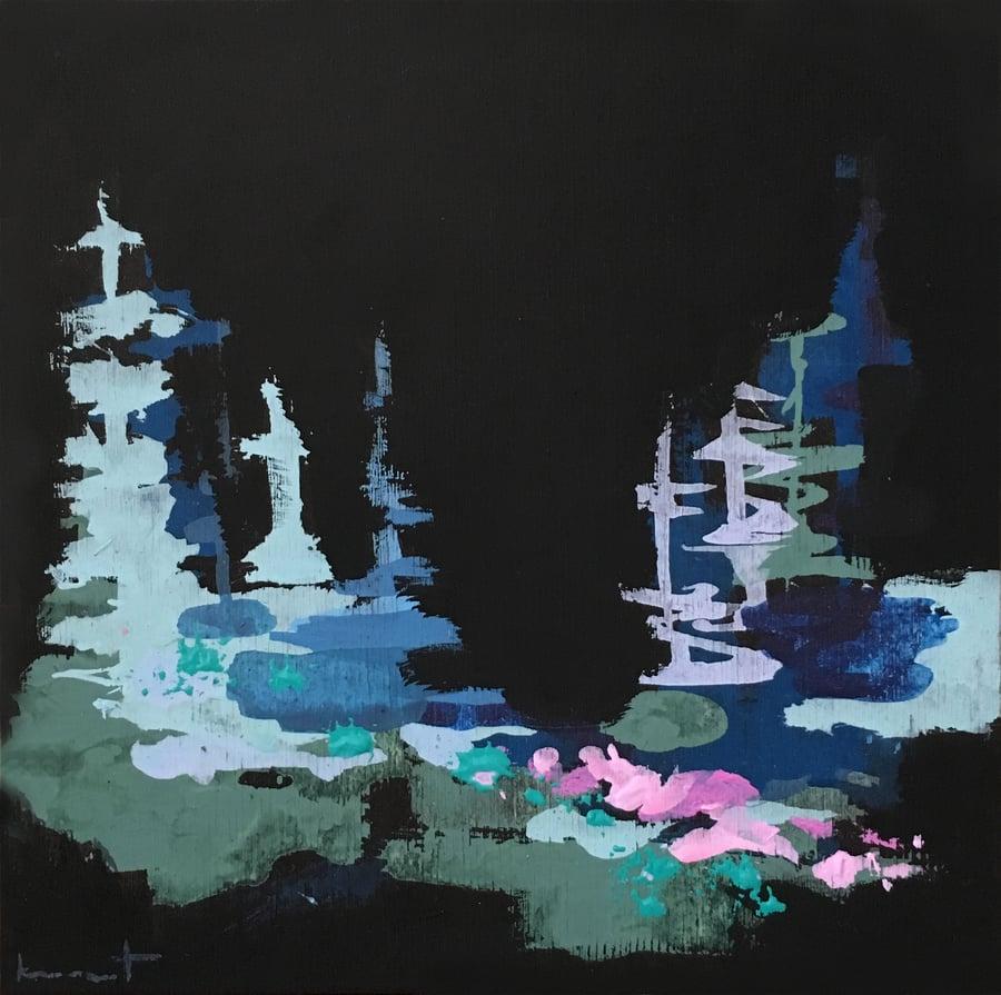Image of Tiny Painting No. 68 (black, sky, lilac)