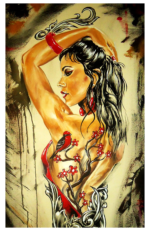Image of JEREMY WORST Cherry Blossom tree tattoo bird sexy Original Artwork Signed Framed Print