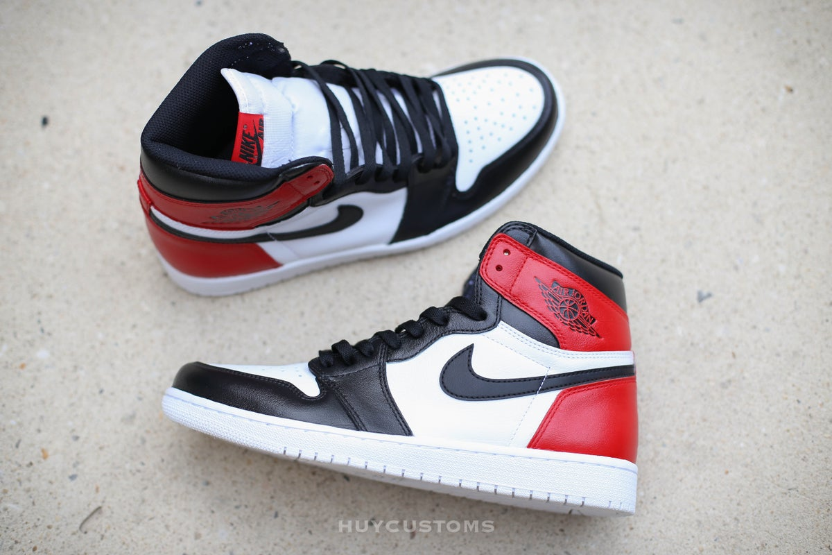 Image of Jordan Retro 1 black toe/white bottom custom