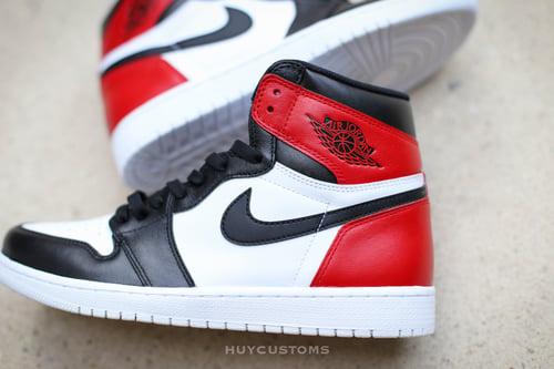 Image of Jordan Retro 1 black toe/white bottom custom