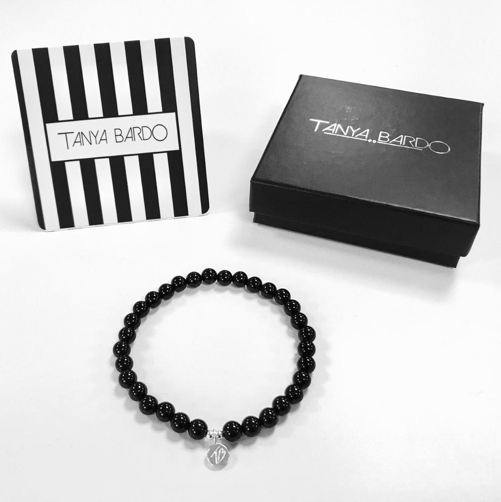 Image of MENS WISH Black Onyx Beaded Bracelet With Tag