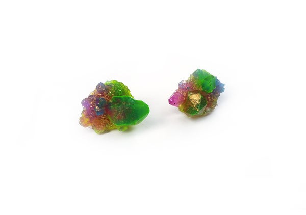 Image of CRYSTAL CLUSTER STUD - Neon Meadow