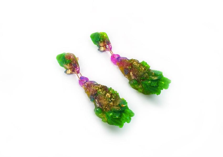 Image of CHRYSALIS DROP EARRINGS - Neon Meadow