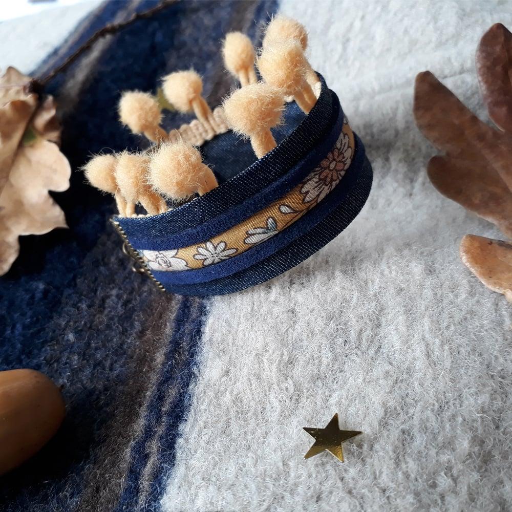 Image of Bracelet *fillette* - manchette pompons : marine/camel