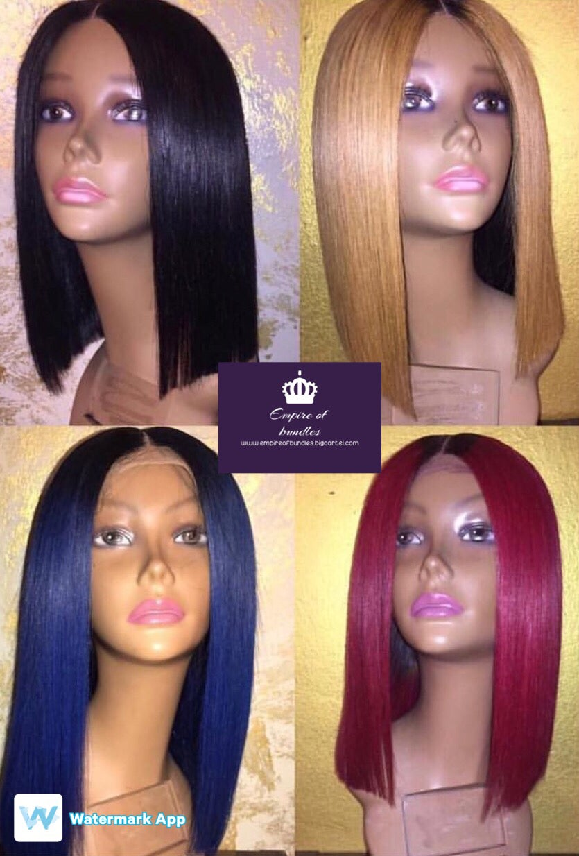 """Image of 12"""" Lace front colored wigs grade 10A"""