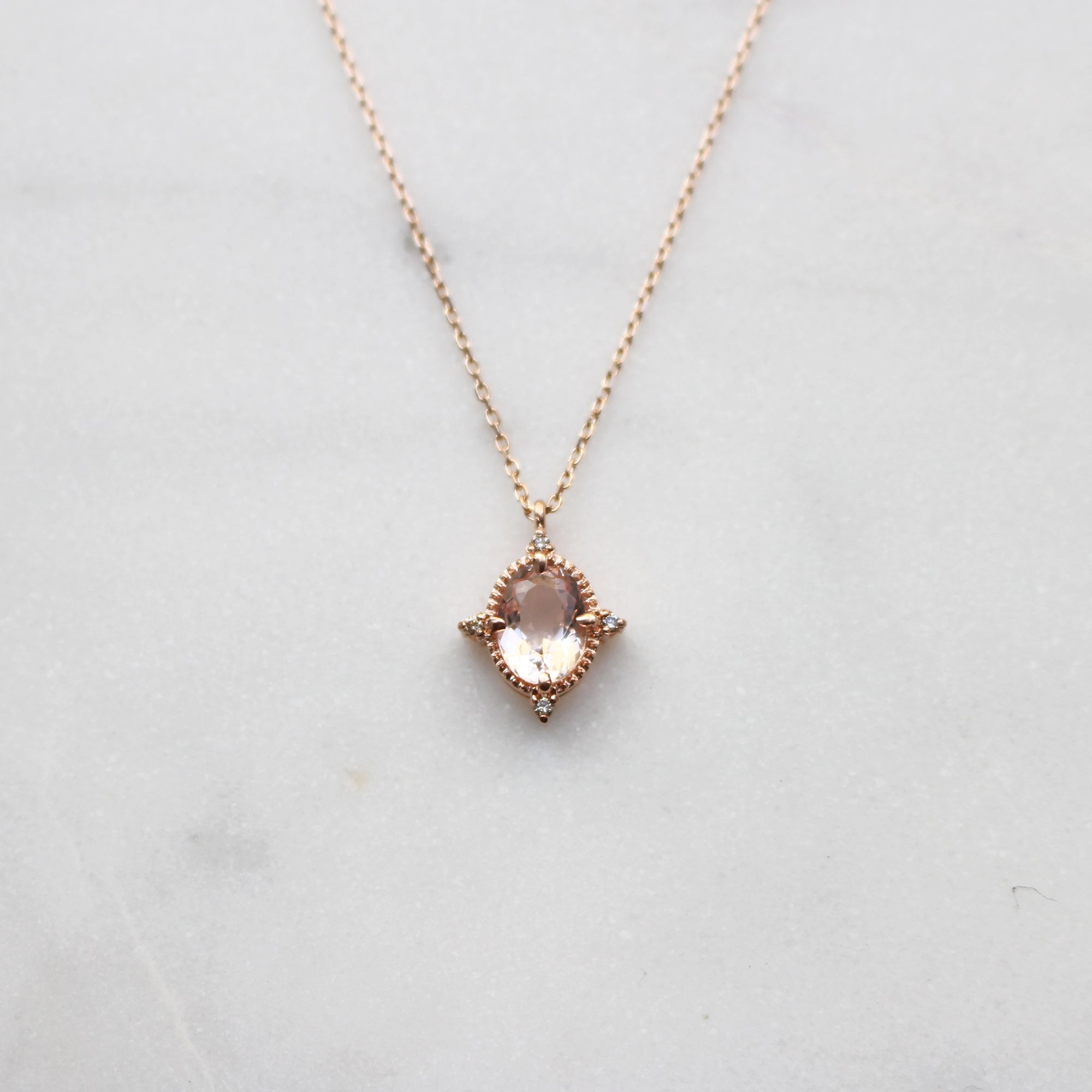 neckline pendant morganite your extra necklace pin with to this sparkle from h miadora some gold tdw rose add and diamond g