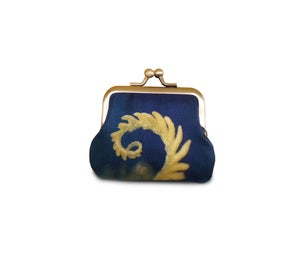 Coin purse, fern, blue and yellow frond, silk pouch, bracken leaf - Red Ruby Rose