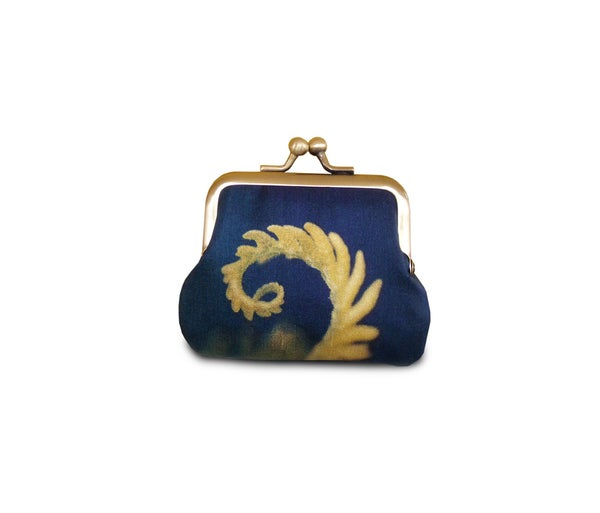 Image of Coin purse, fern, blue and yellow frond, silk pouch, bracken leaf