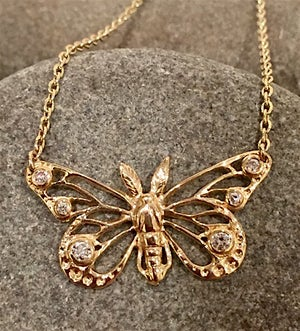 Image of Gold and Diamond Butterfly Pendant