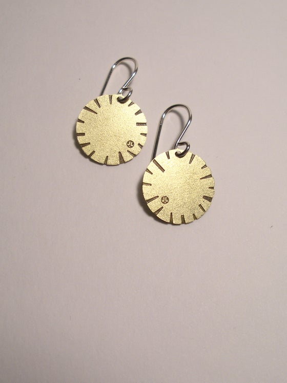 Image of DISK EARRING: BLOOM (BRASS)