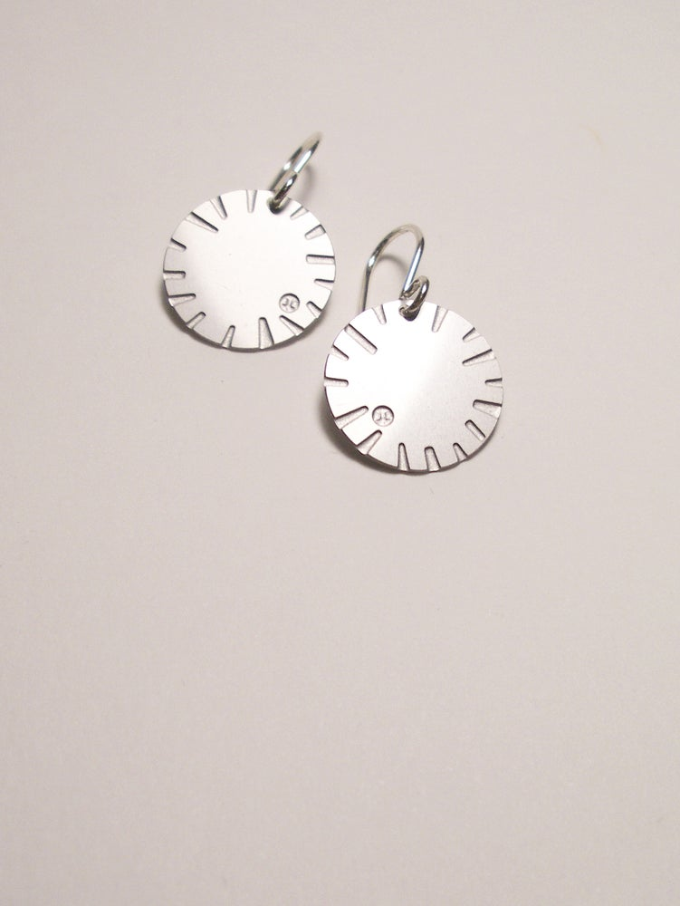 Image of DISK EARRING: BLOOM (STAINLESS STEEL)