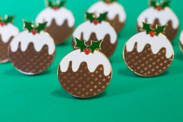Christmas Pudding Enamel Pin - Black Heart Creatives