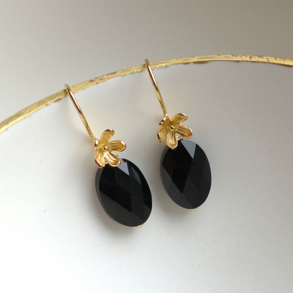 Image of Gold Flower And Jet Black Swarovski Drop Earrings