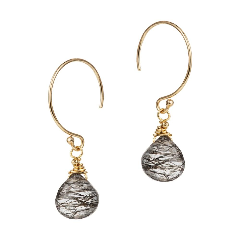 Image of Tourmalinated Quartz Drop Earrings
