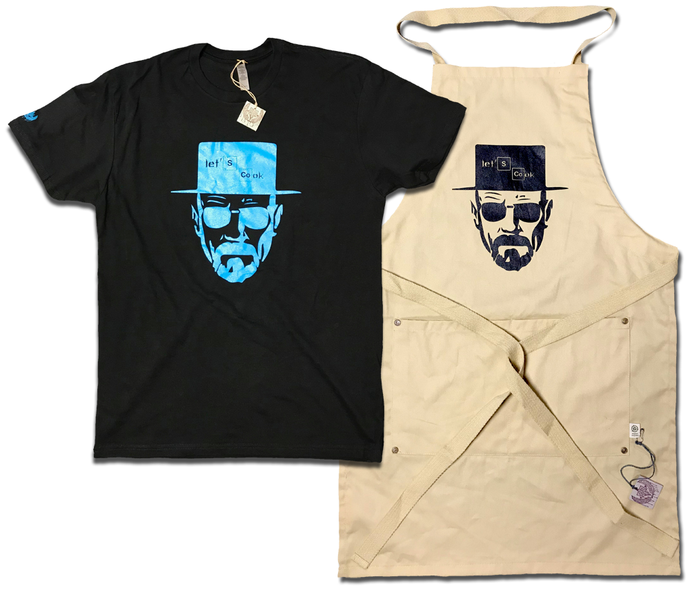 Image of Cooking with Heisenberg tee & apron
