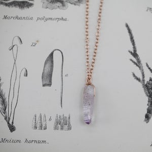 Image of *NEW* amethyst crystal necklace in gold or silver