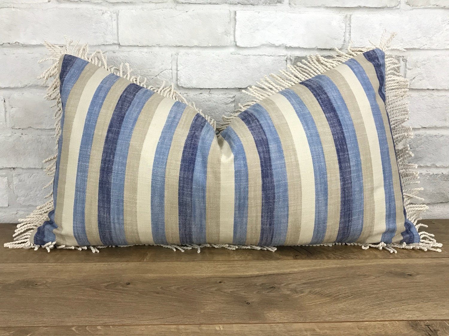 Image of Stripe linen with fringe pillow cover