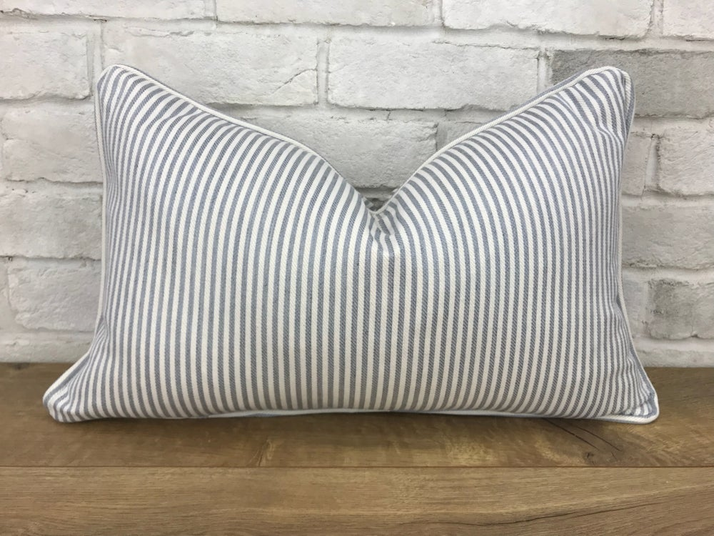 Image of Soft blue and cream stripe pillow cover