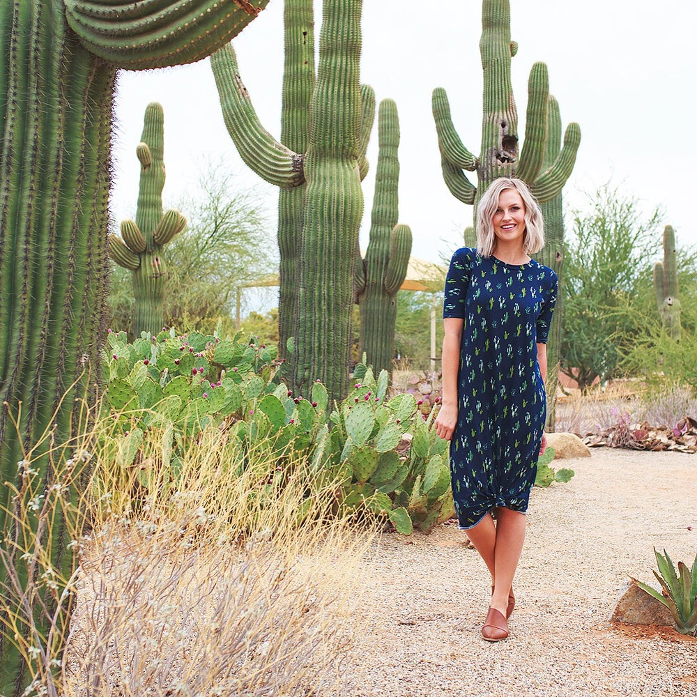 Image of Women's Navy Cactus Knot Knit Dress