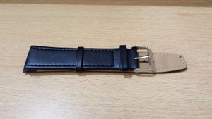 Image of PLAIN SOFT SLIM 22MM BLACK LEATHER WATCH STRAP,MENS,NEW,LONG VERSION.