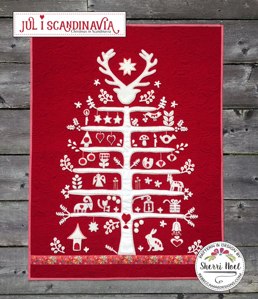 image of jul i scandinavia christmas quilt pattern