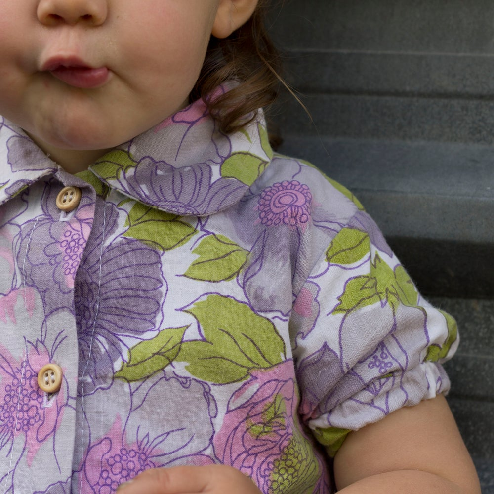 Image of Party Shirt, with peter pan collar - Purple Party