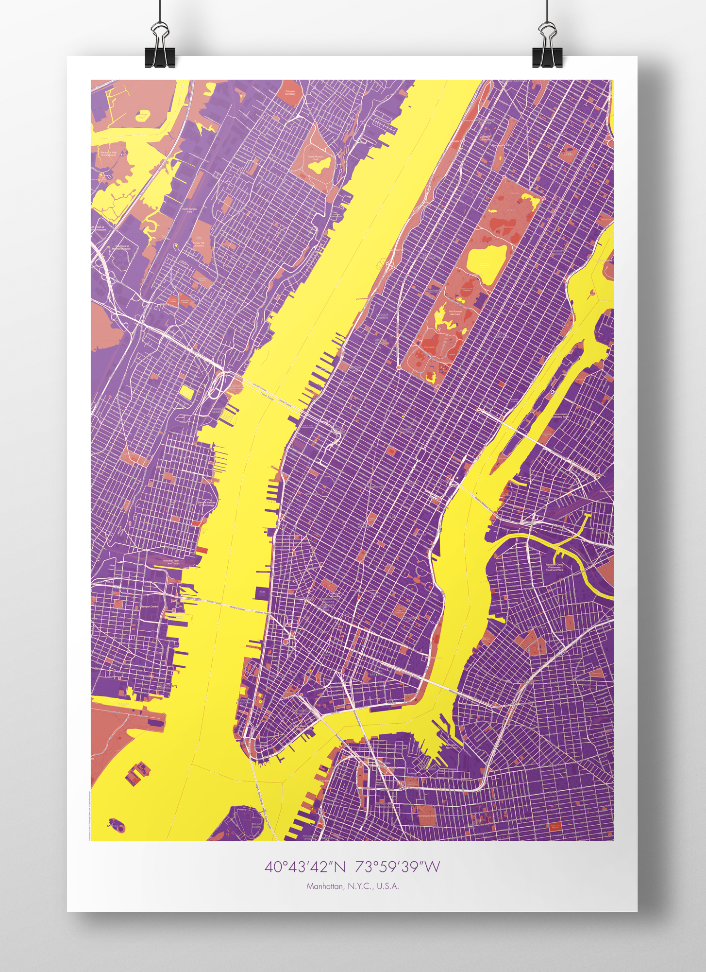 Image of Manhattan Map Poster Purple + Yellow