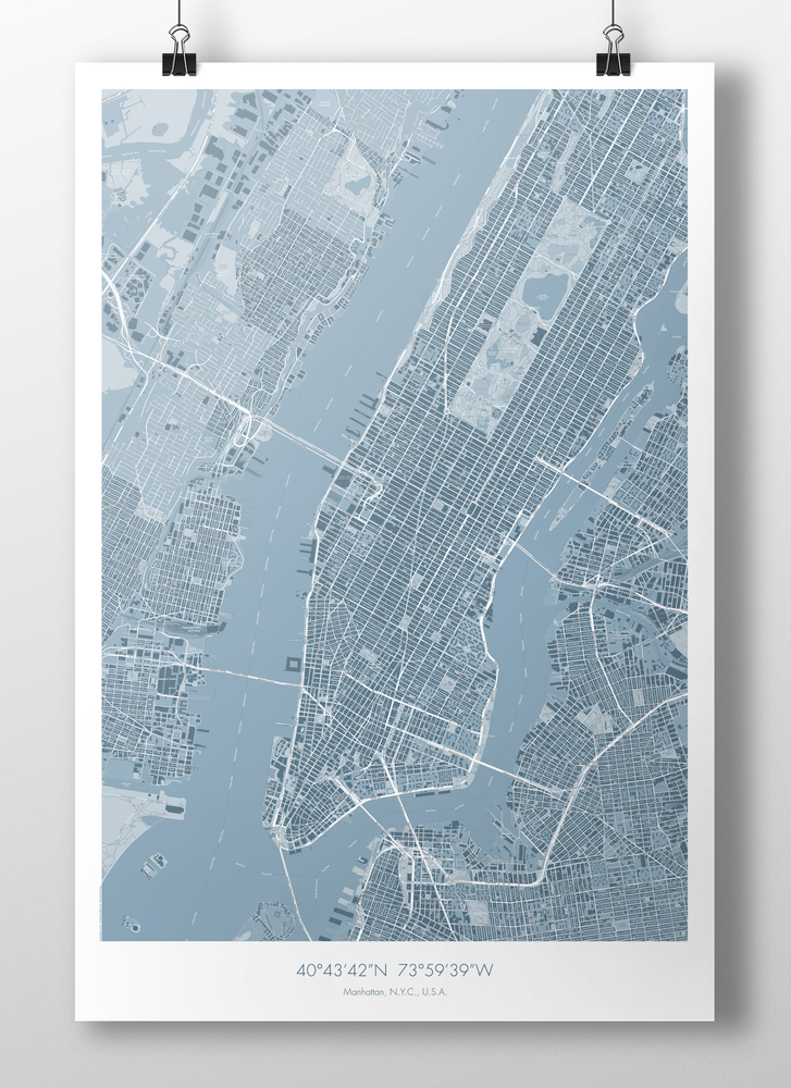 Image of Manhattan Map Poster Teal