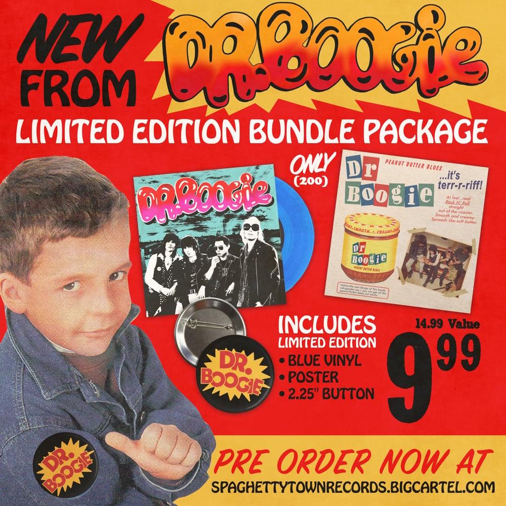 "Dr. Boogie ""She's So Tuff"" Blue vinyl, pin, poster bundle"