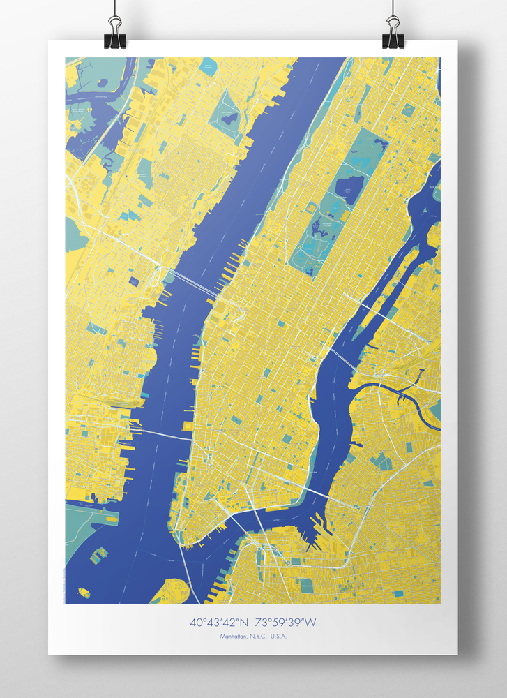 Image of Manhattan Map Poster Yellow + Blue