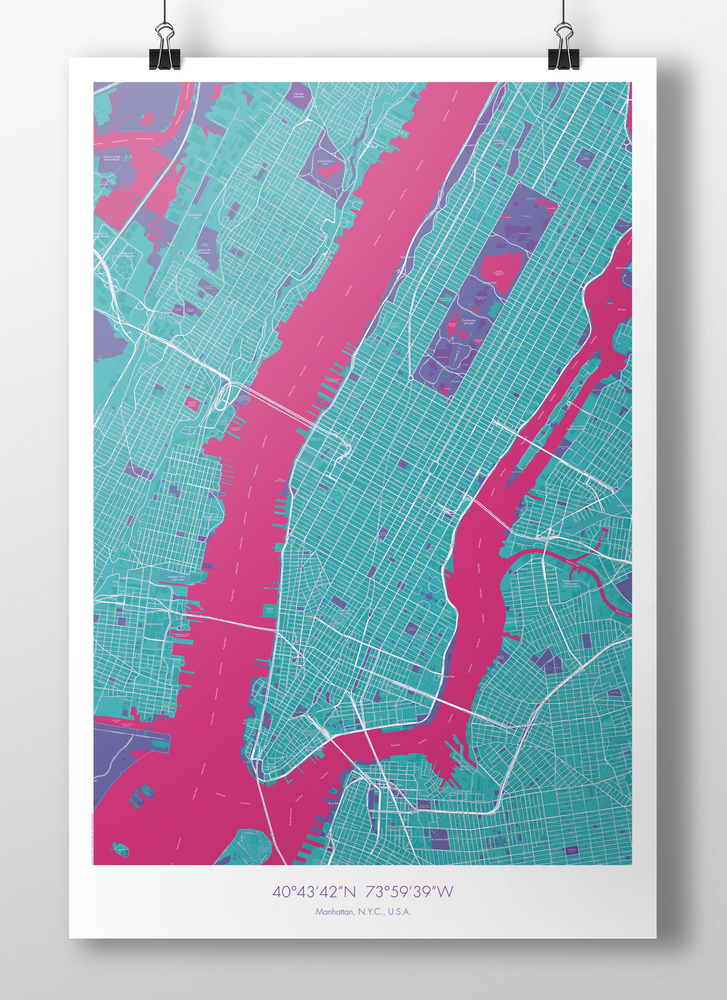 Image of Manhattan Map Poster Turquoise + Pink