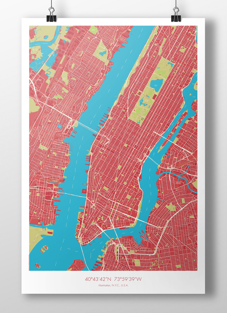 Image of Manhattan Map Poster Red + Blue