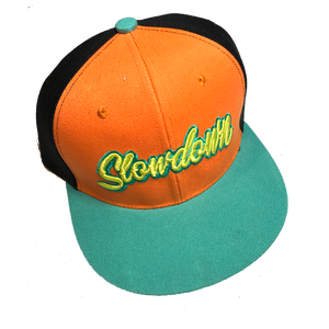 Image of Slowdown Snap Back Orange Turquoise tiger