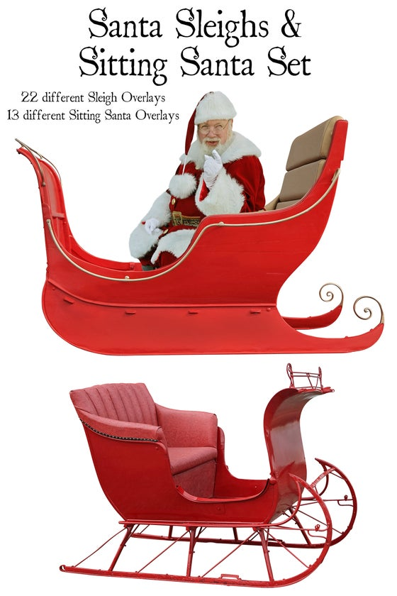 Image of Santa Sleighs & Sitting Santas Set