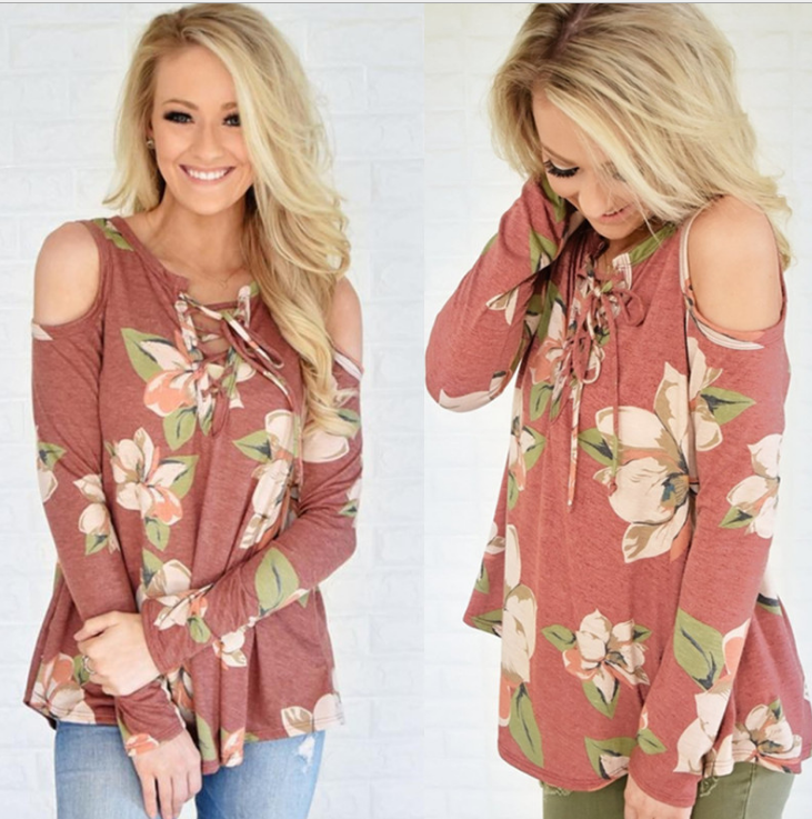 Image of Fashion flower print shoulder belt long sleeve T-shirt blouse