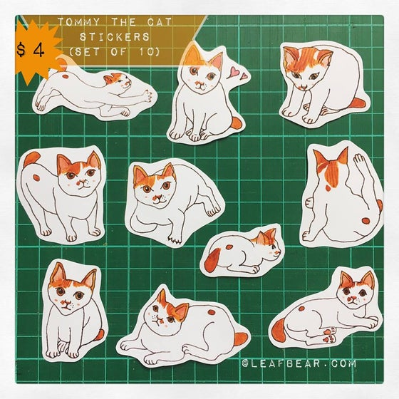 Image of Tommy the Cat Sticker Set