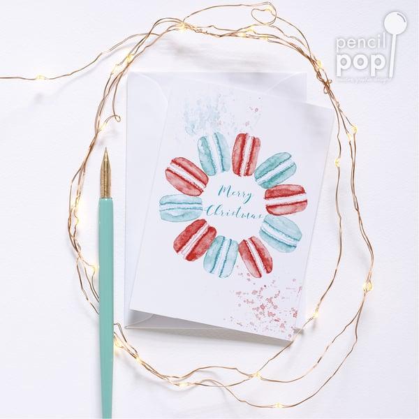 Image of Macaron Wreath - Christmas Greeting Card