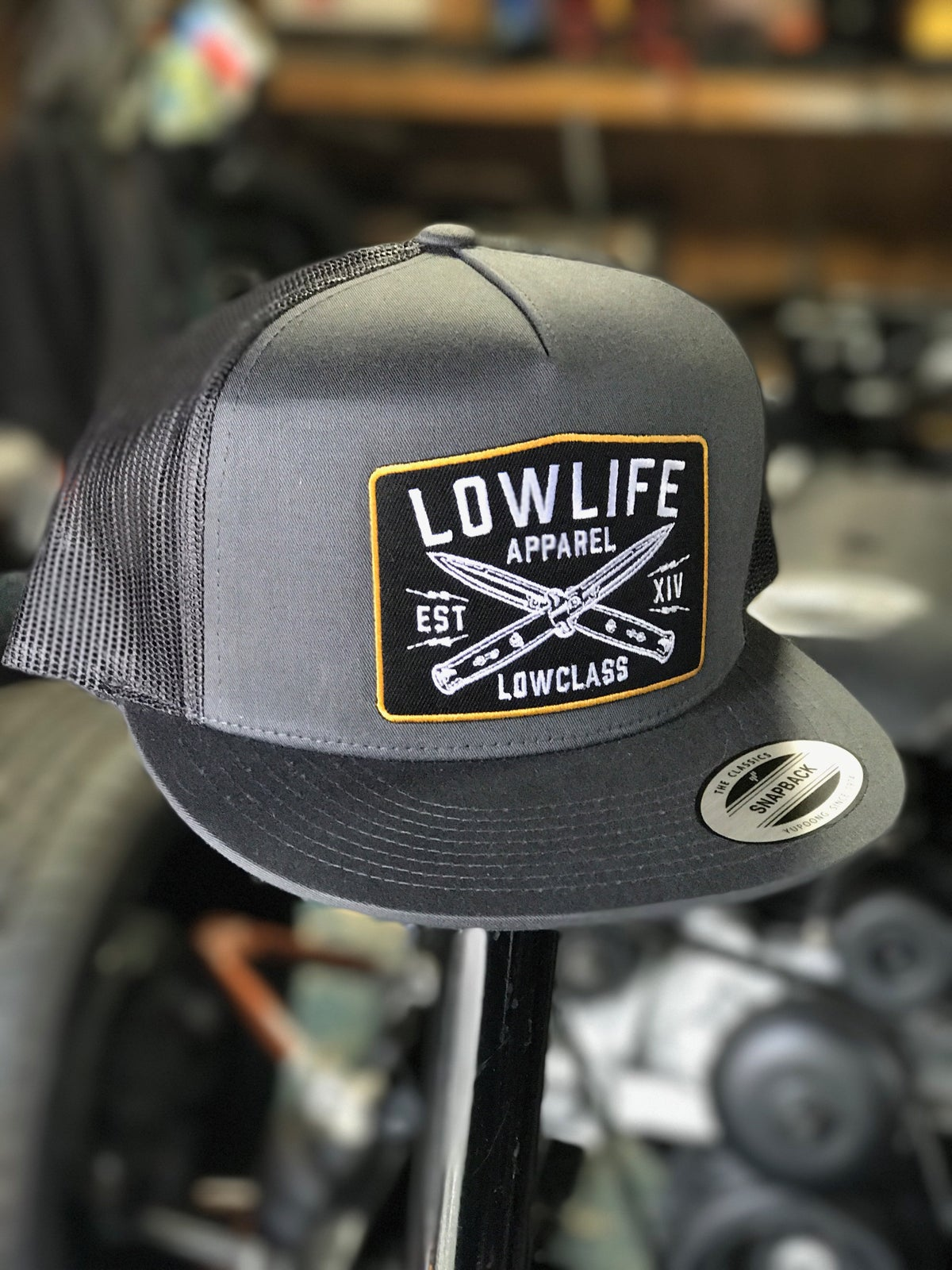 Image of Lowlife Grey LOWCLASS Knives Patch Hat