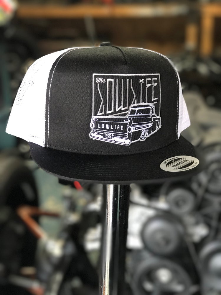 Image of The Lowlife Black and White Fleetside Patch Hat