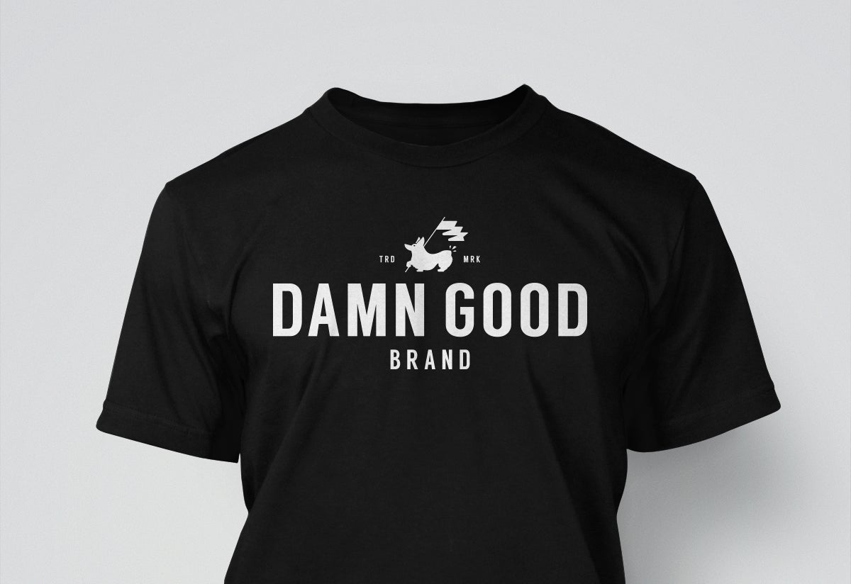 Image of Damn Good Brand, Unisex Tee, White on Black