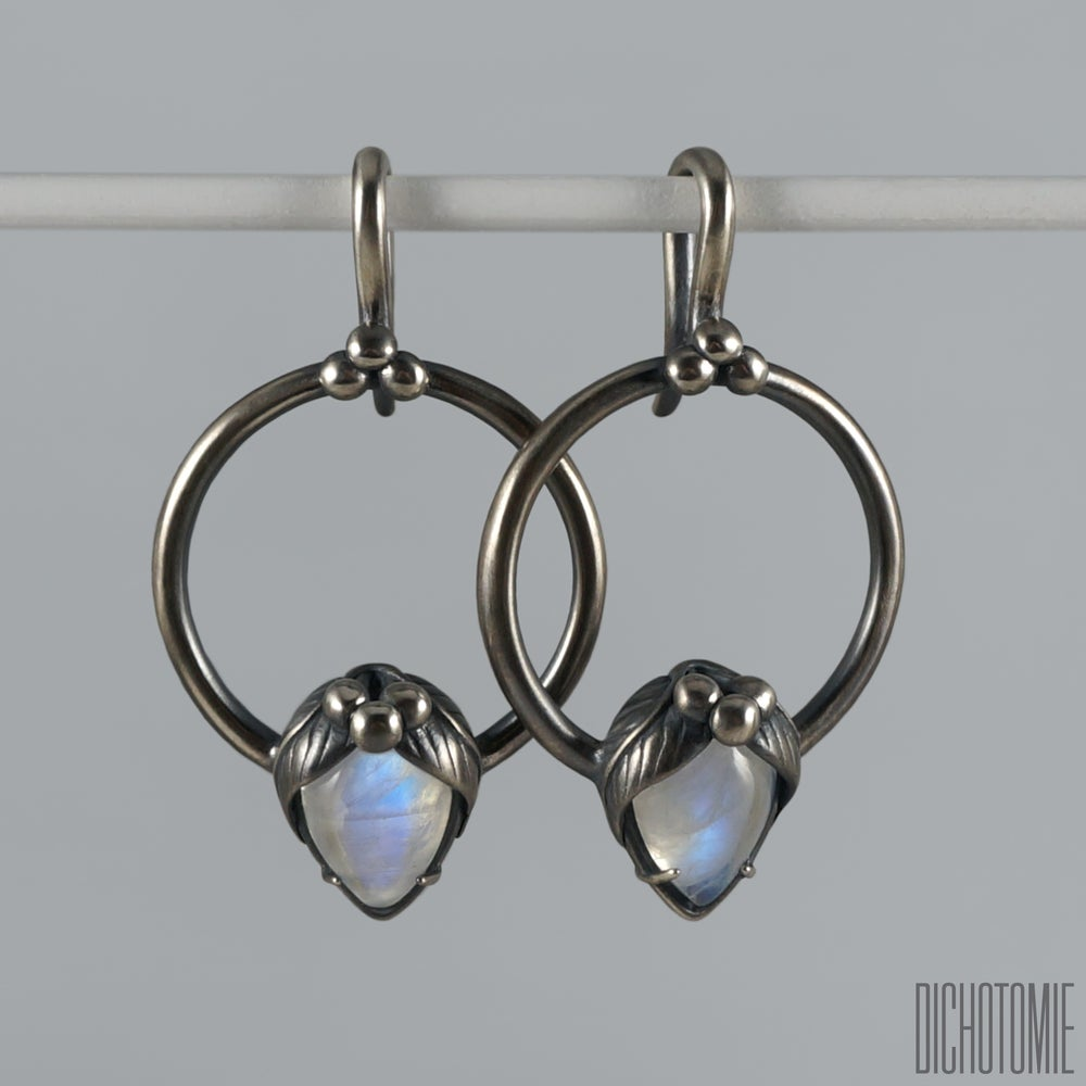 Image of La Belladonna Ear Weights Rainbow Moonstone